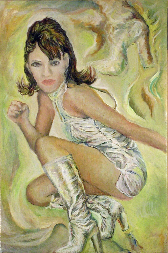 431-46 Liz Hurley 4, Huile sur acrylique, 20x30 po, 2014-11-16