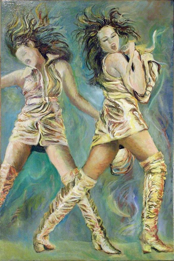 415-56 Cindy Crawford double... Huile sur acrylique, 20x30 po, 50x76 cm 2014-12-02