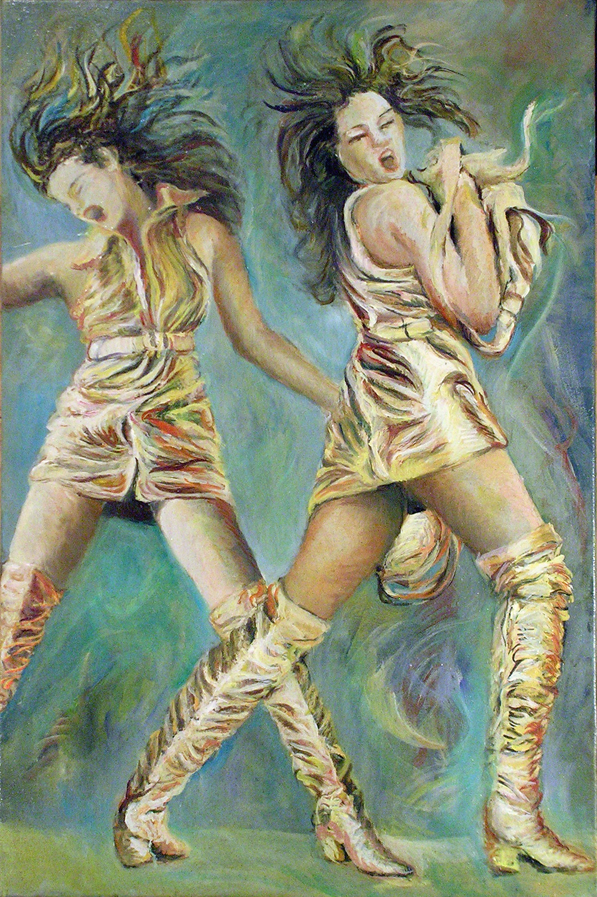 415-59 Cindy Crawford double... Huile sur acrylique, Oil on acrylic,20x30 po, 50x70 cm 2014-12-08