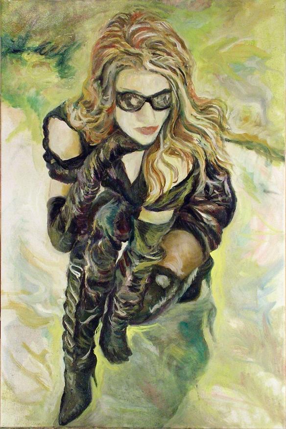434-23 Modèle inconnue, lunettes soleil et cuissardes, huile/oil 20x30 po (50x76 cm) 2014-11-24
