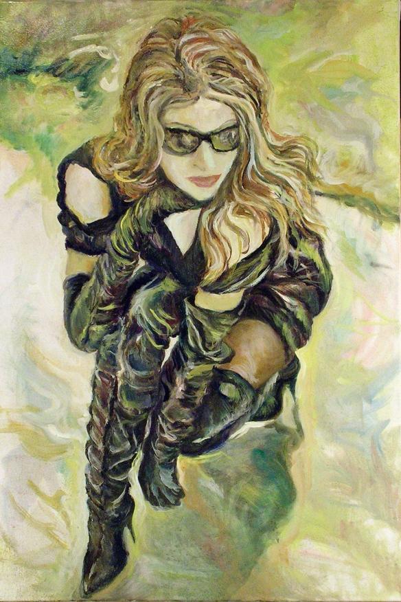434-24 Modèle inconnue, lunettes soleil et cuissardes, huile/oil 20x30 po (50x76 cm) 2014-11-28