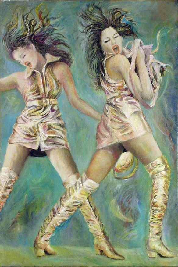 415-63 Cindy Crawford double... Huile sur acrylique, Oil on acrylic,20x30 po, 50x70 cm 2014-12-14