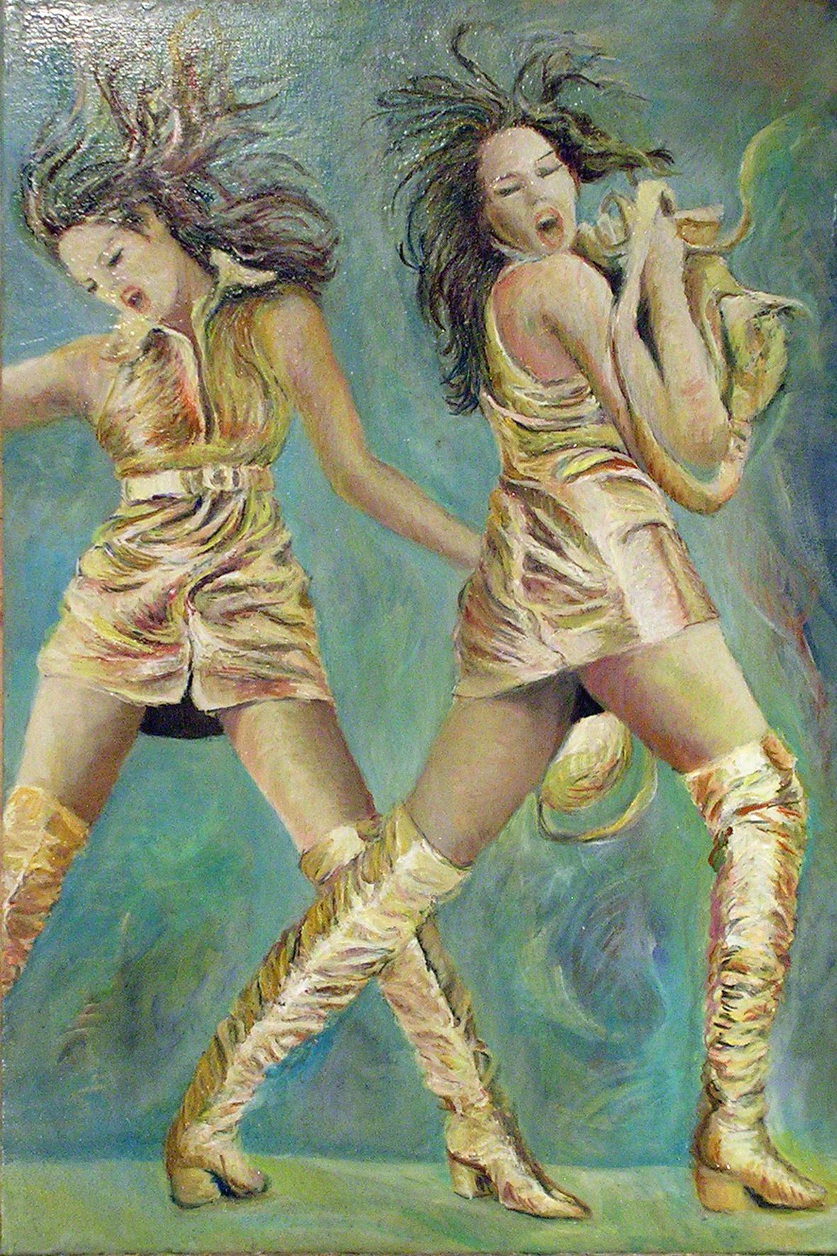 415-66 Cindy Crawford double... Huile sur acrylique, Oil on acrylic,20x30 po, 50x70 cm 2014-12-26