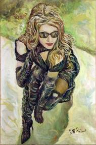 434-30 Modèle inconnue, lunettes soleil et cuissardes, huile/oil 20x30 po (50x76 cm) 2015-06-24