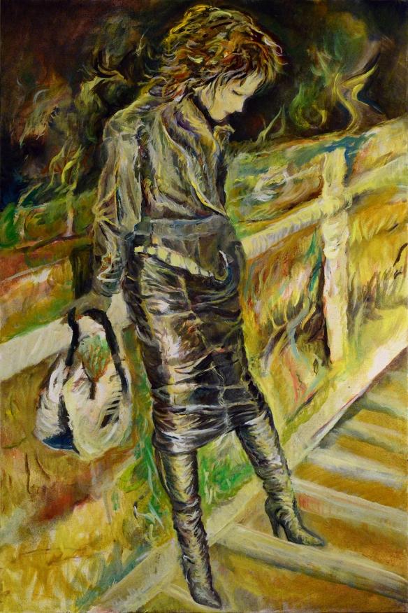 435-28-R Modèle inconnue, jupe longue et bottes, huile 20x30 po (61x92 cm), 2015-10-17